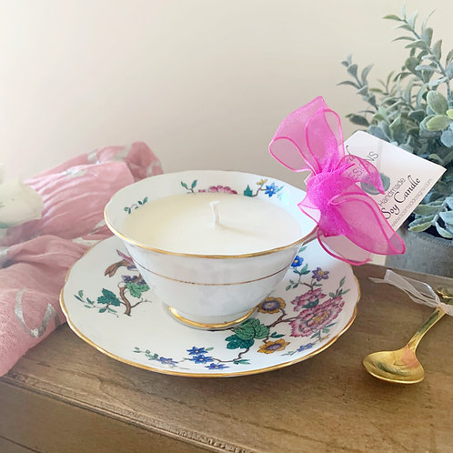Lavender Teacup Candle - Bright Flowers & Birds