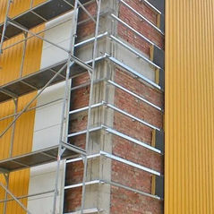 Монтаж фасада из профлиста