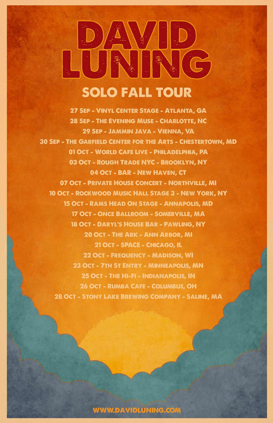 Solo Tour Starts Today!