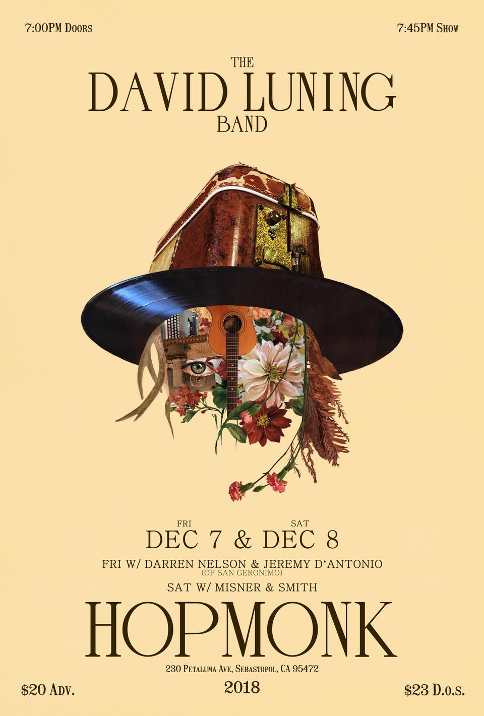 New Poster! Two Nights at HopMonk Sebastopol Dec 7 & 8.