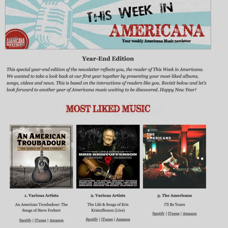 "AMERICANA MUSIC ASSOCIATION ranks ""An Americana Troubadour - The Songs of Steve Forbert"" #"