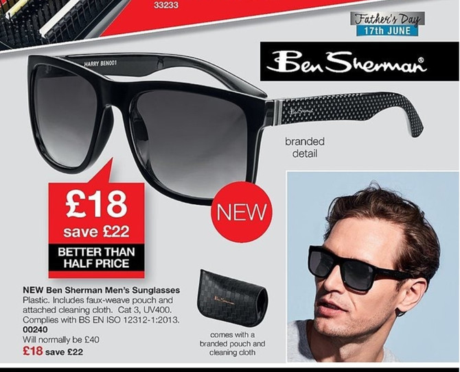 Mens Ben Sherman Sun Glasses just £18