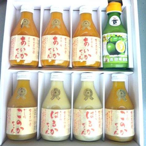 みかんジュース 小瓶180ml 7本 レモン果汁1本入ギフトセット(化粧箱入)