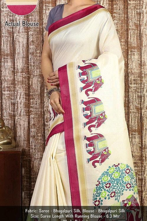 Elegant Alluring  Khadi  Saree