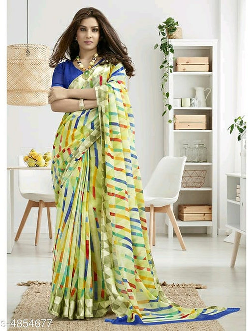 Shangrila Designer Multicolor Printed Cotton Saree With Unstitched Blouse Piece