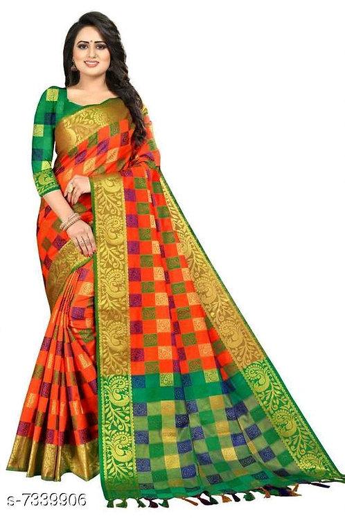Banarasi woven cottan silk design saree