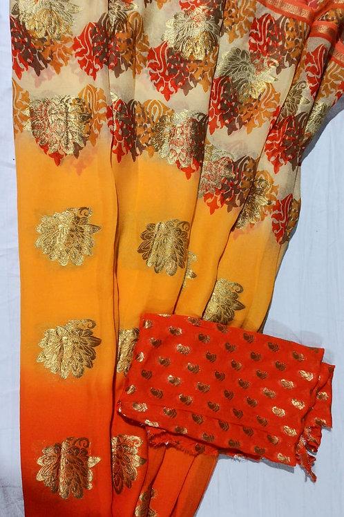 Yellow Orange Color Pure Georgette Saree