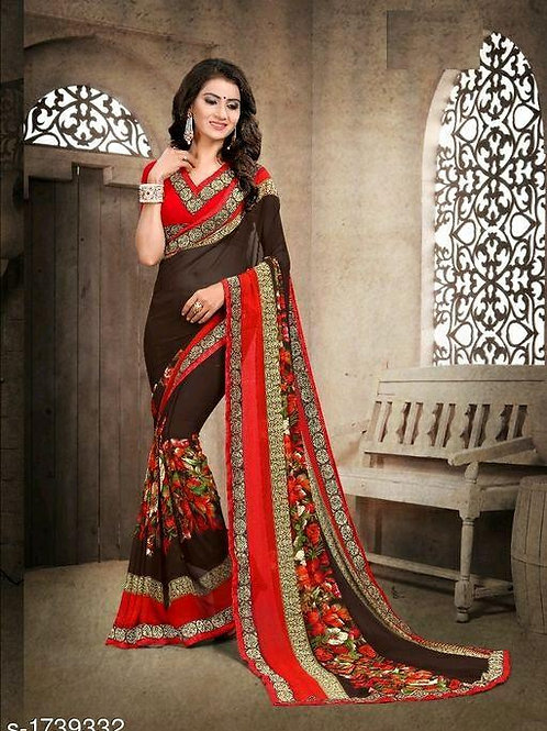 Dark Brown Red Synthetic Chiffon Saree