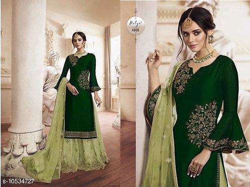 Green Satin Georgette Designer Sharara Suit with Duppatta