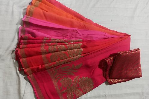Pink Orange Moonga Silk Saree