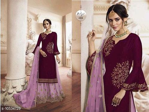 Purple Satin georgette Pakistani Straight palazo style suit With Dupatta