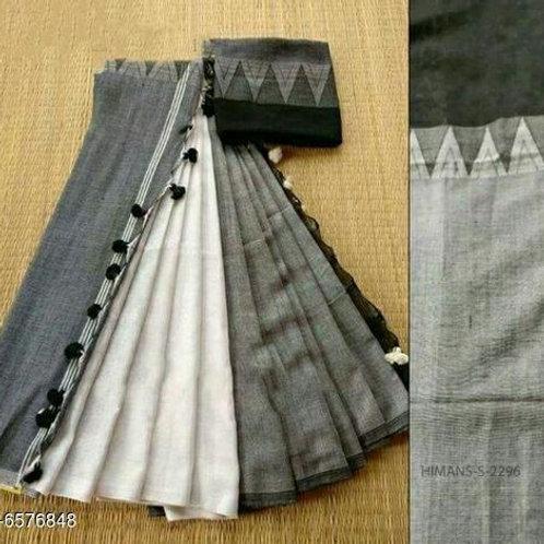 Grey White Khadi Linen Saree
