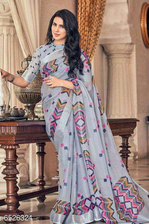 Digital Printed Soft Linen Cotton Saree