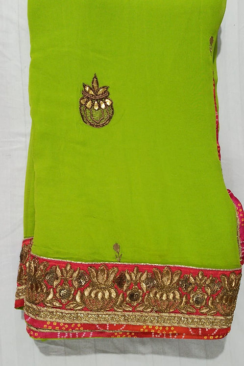 Parrot Green Color Pure Georgette Saree