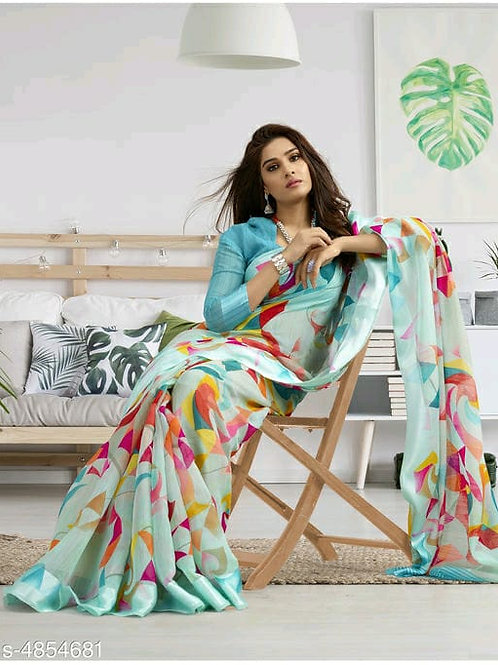 Shangrila Designer Turquoise Color Printed Cotton Saree With Unstitched Blouse P