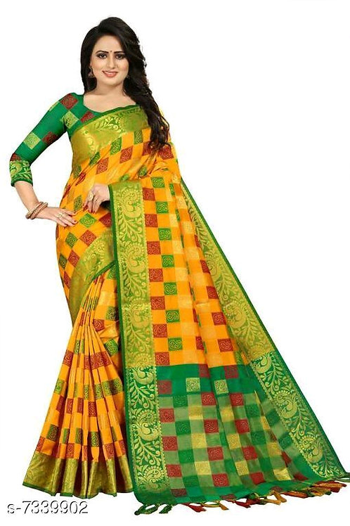 Banarasi woven cottan silk design saree