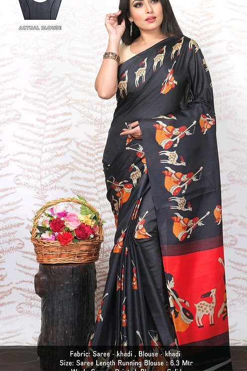 Attractive khadi Saree
