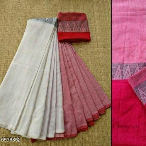 Pink Khadi Linen Saree