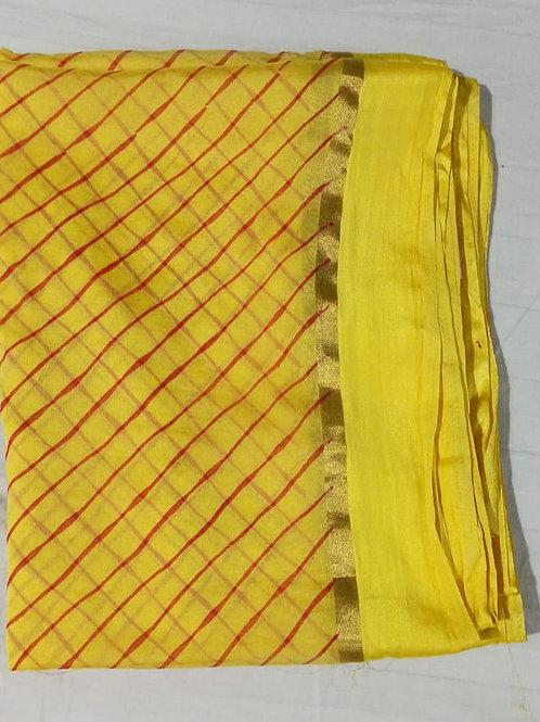Yellow Red Blouse Chiffon Saree
