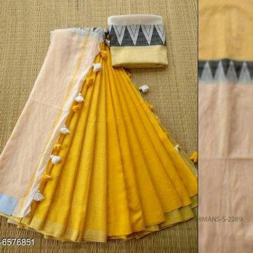 Haldi Yellow Khadi Linen Saree