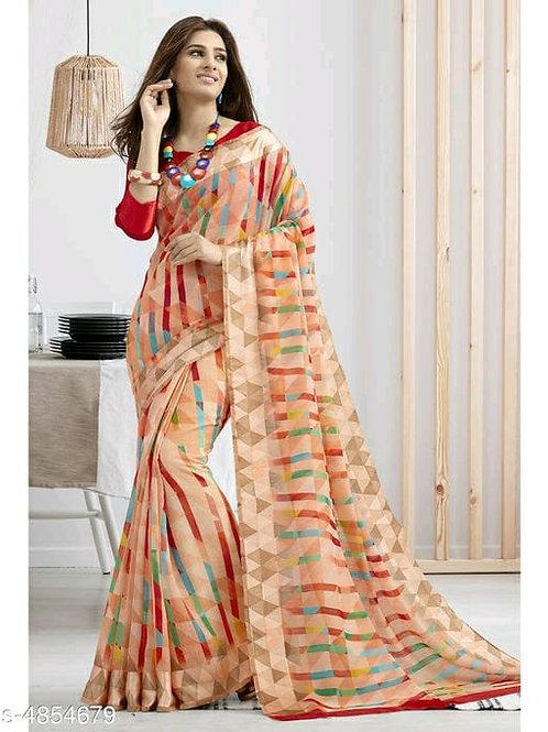 Shangrila Designer Multicolor Printed Cotton Saree With Unstitched Blouse Piece