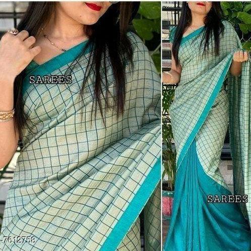 Greyish Blue Khadi Saree