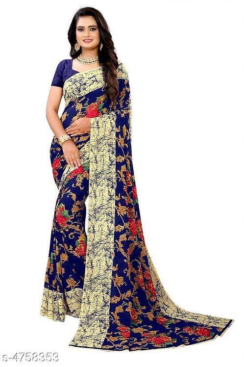 Printed Georgette saree floral Print
