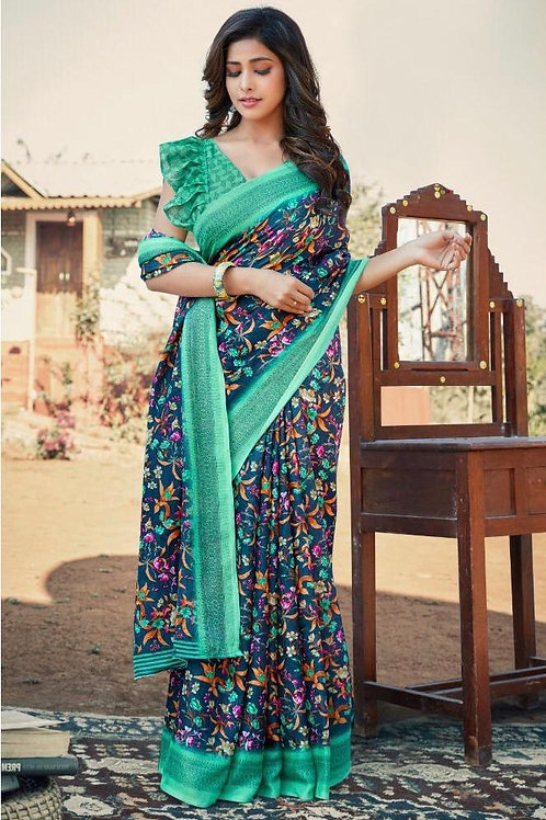 Blue Printed Saree With Green Border