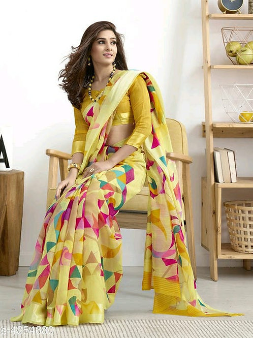Shangrila Designer Yellow Color Printed Cotton Saree With Unstitched Blouse Piec