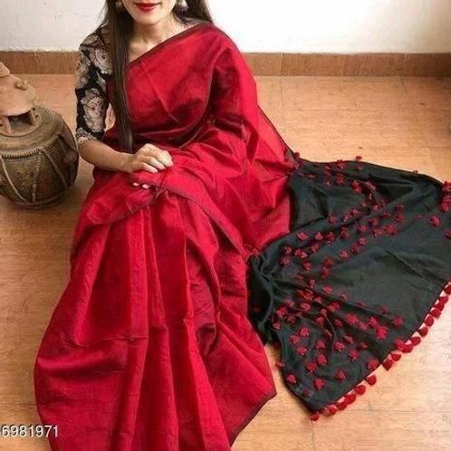 Red Linen Silk Saree