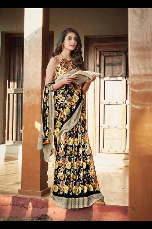 Black Saree With Golden Flowers