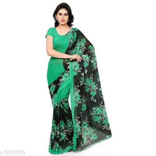 Green Printed Synthetic Chiffon Saree