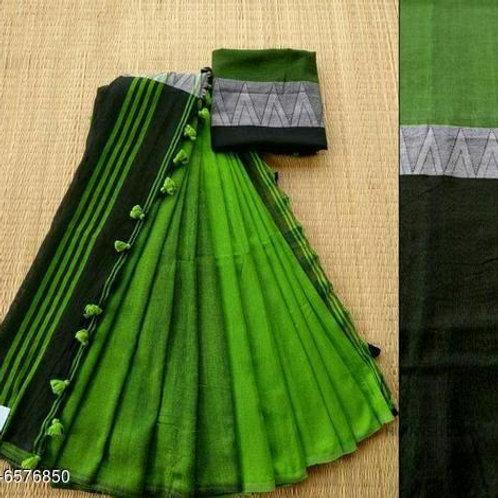 Green Khadi Linen Saree