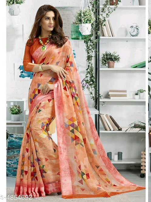 Shangrila Designer Light Orange Color Printed Cotton Saree With Unstitched Blous