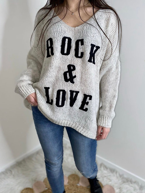 Pull Rock & Love Blanc cassé
