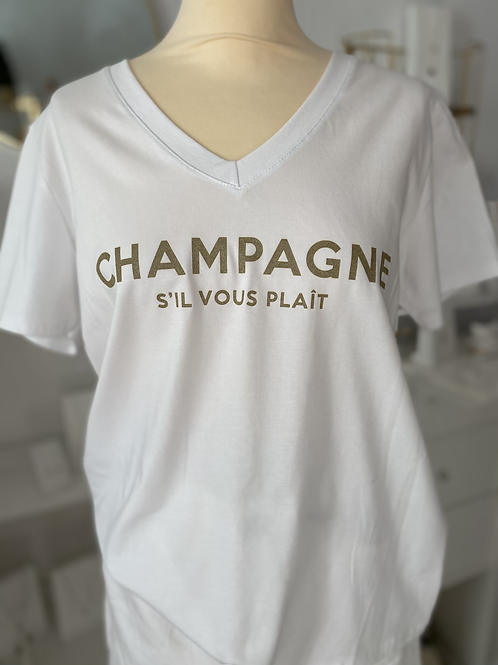 Tee Shirt Champagne Blanc