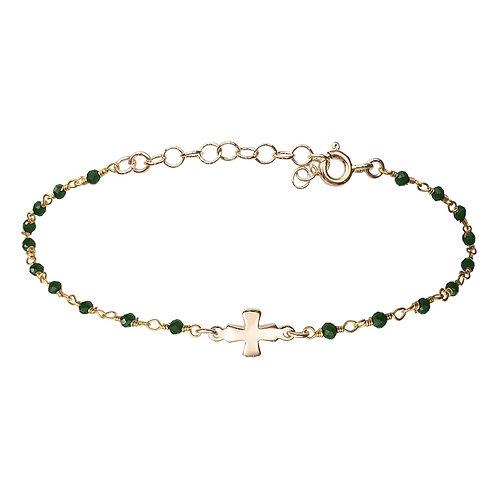Bracelet Croix Vert