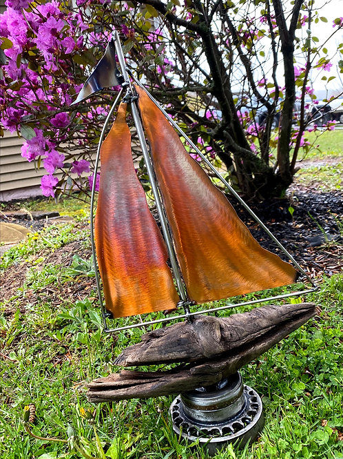 Copper Sailboat on Driftwood