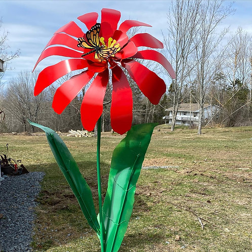 GIANT RED FLOWER WITH MONARCH BUTTERFLY
