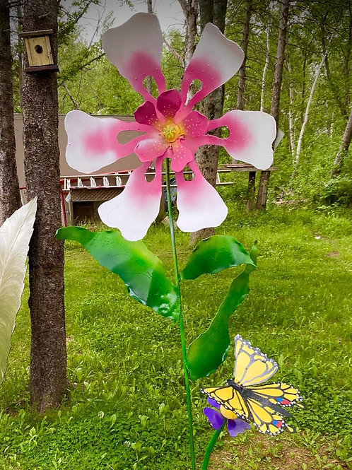 PINK COLUMBINE WITH YELLOW SWALLOWTAIL BUTTERFLY