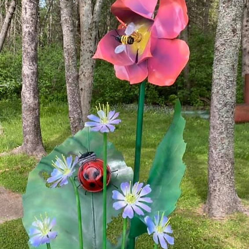 MAY FLOWERS WITH BIG SALMON FLOWER AND LADYBUG