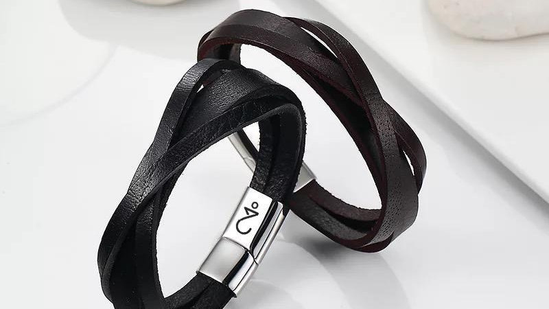 Accesorios Hombres Bracelet Leather Imprinted