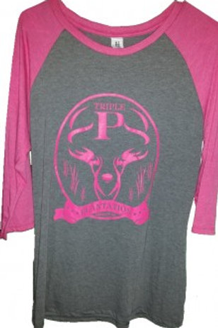 Pink and Gray Baseball Three Fourth Sleeve T-Shirt - XLarge