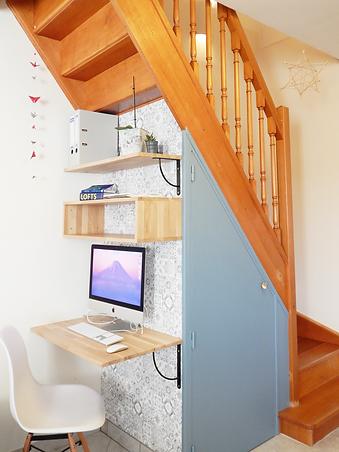 Aude Besson - Architecte d'intérieur- 49 - bureau type scandinave et espace de rangement