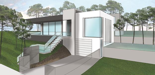 Aude Besson - Architecte d'intérieur- 49 - Modélisation de la façade de la villa (projet)