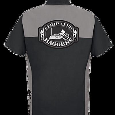 Men's Short Sleeve SCB Gray/Black Contrast Panel Mechanic Style Shop Shirt