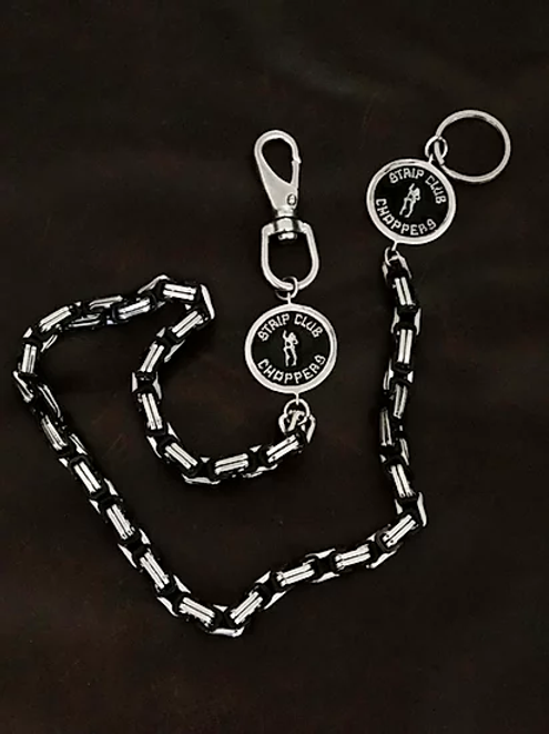 SCC Silver w/Black Wallet chain