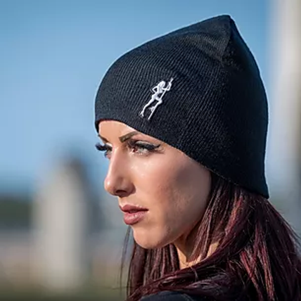SCC Black Beanie with Pole Girl in White