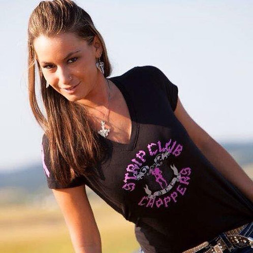 Women's SCC Strip Club Choppers Cancer Ribbon V-Neck Tee
