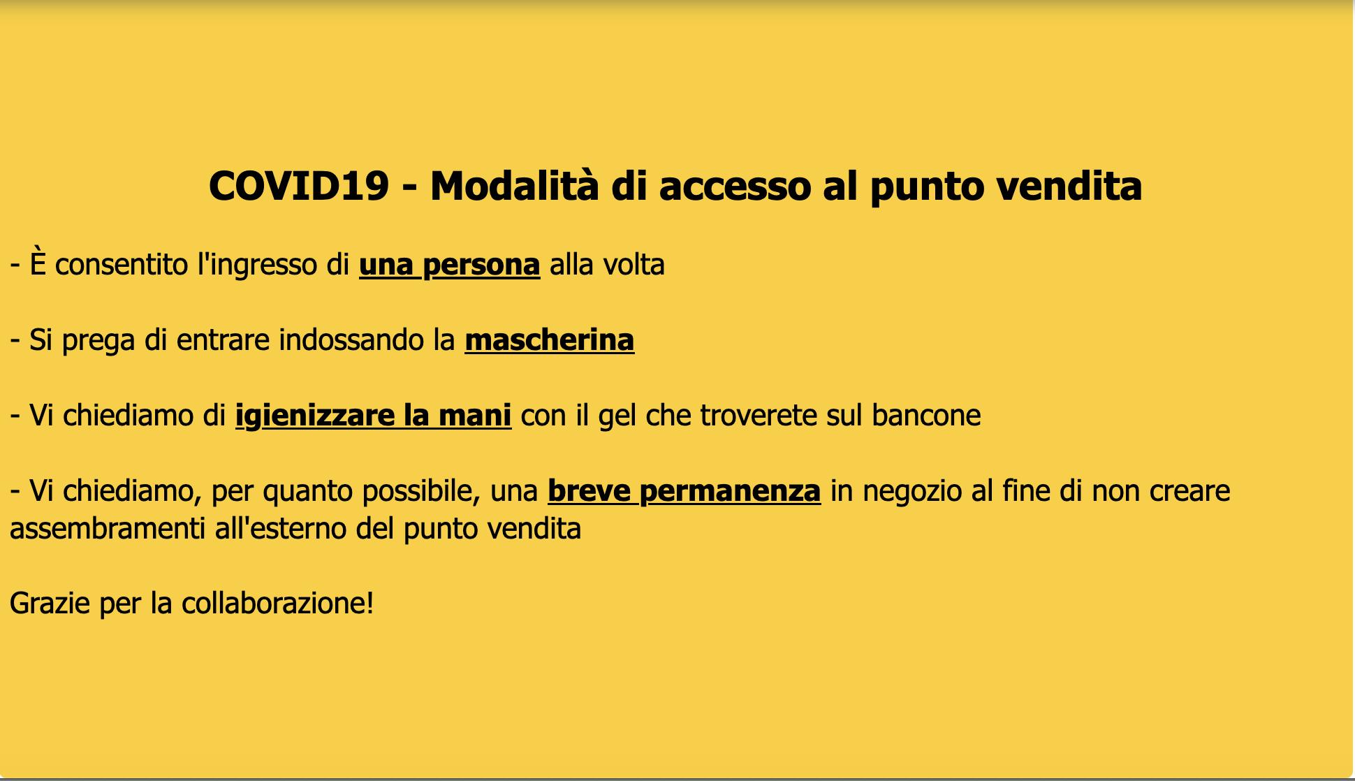 Modalità di accesso al punto vendita - COVID19